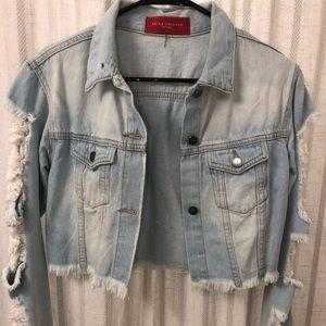Destroyed crop jean jacket